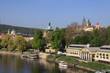 View on spring Prague above River Vltava with  gothic Castle