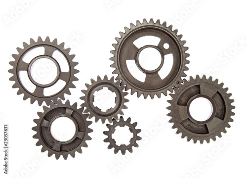 Six industrial gears