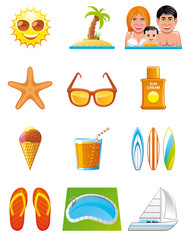 Summer vacations icons