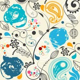 Floral seamless pattern with paisley
