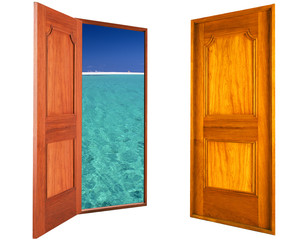 Wooden open and close door to beach and seaside