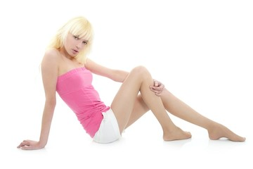 blond beautiful young pink girl sit relaxed