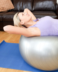 Relaxed woman doing exercice