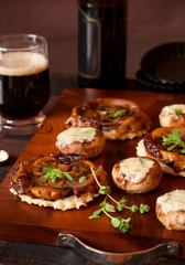 mushroom tarte tatin and stuffed mushrooms