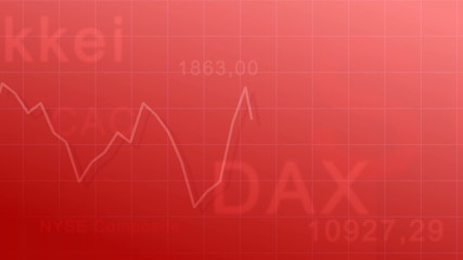 Market indexes - red background (seamless looping)