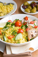 Chicken tabbouleh in a bowl