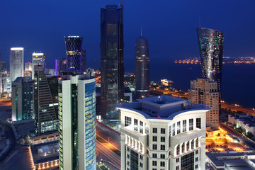 Qatar: Doha Skyline at Night