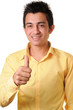 Smiling South Asian young businessman showing thumbs up