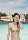 Smiling girl in water park