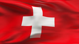Creased Switzerland satin flag in wind with seams and wrinkles poster