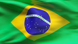 Creased Brazil satin flag in wind with seams and wrinkle poster