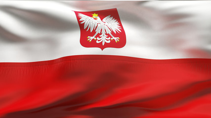 Creased Polish satin flag in wind with seams and wrinkles
