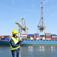 Docker inspecting a container ship
