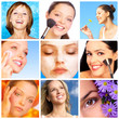 Pretty smiling women applying make up.
