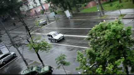 Cars on raining road
