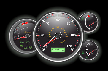 Vector Car speedometer and dashboard at night.