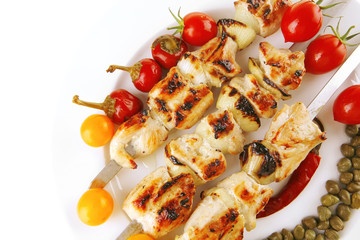 pork shish kebab with vegetables
