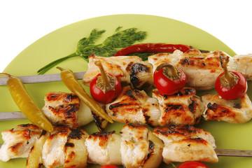 roast shish kebab with vegetables