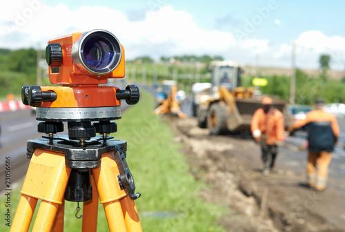 Leinwandbild Motiv surveyor equipment level theodolite