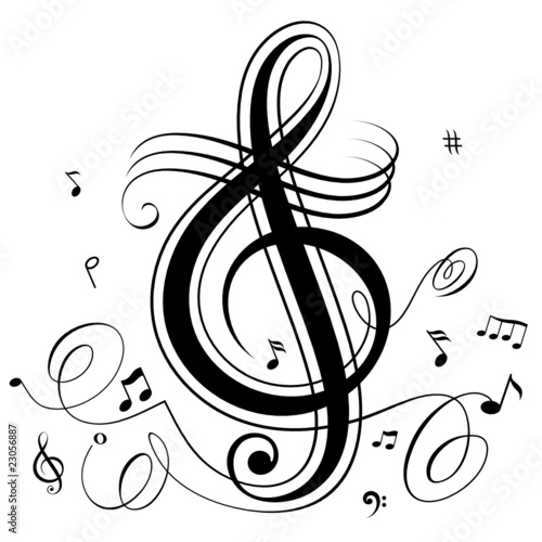 Abstract funky musical notes