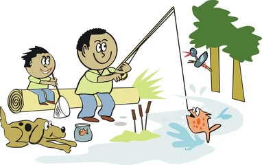 Afro American fishing cartoon