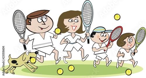 Family Cartoon of 7 Happy Family Tennis Cartoon