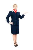 stewardess showing something