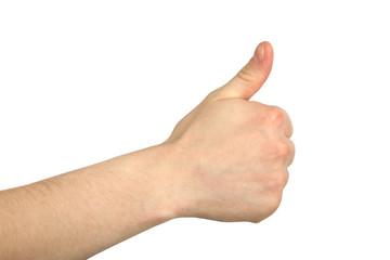 man's hand gesture
