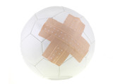 soccer ball with wound plaster isolated on white background poster