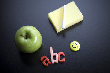 Blackboard and apple