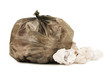 Bag with garbage isolated on the white background