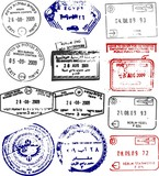 Vector passport stamps from Europe and the Middle East