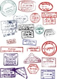 Vector passport stamps from Asia and Australia