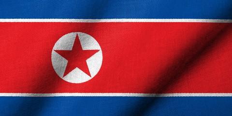 3D Flag of North Korea waving