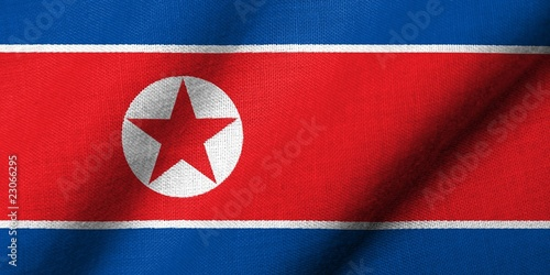 3D Flag of North Korea waving