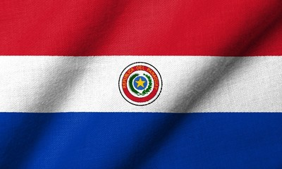 3D Flag of Paraguay waving