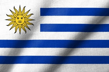 3D Flag of Uruguay waving
