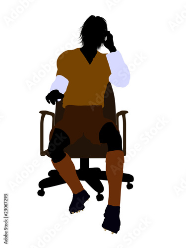 soccer player silhouette. Male Soccer Player Sitting In