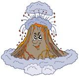 Angry cartoon volcano