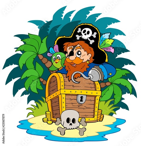 Staande foto Piraten Small island and pirate with hook