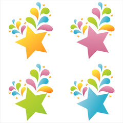 set of 4 colorful stars