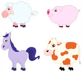 Cute animals 3 - farm animals poster