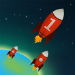 Red Rockets flying in outer space