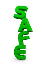 "3D ""safe"" word in green color"
