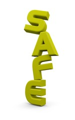 "3D ""safe"" word in yellow color"