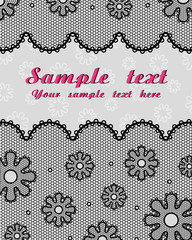 Lace postcard (black, grey, raspberry)