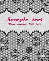 Lace postcard (black, grey, raspberry)