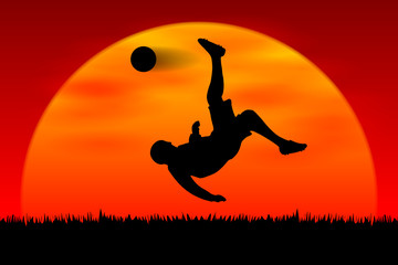 fussballspieler im abendrot I