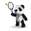3d Teddy plays tennis