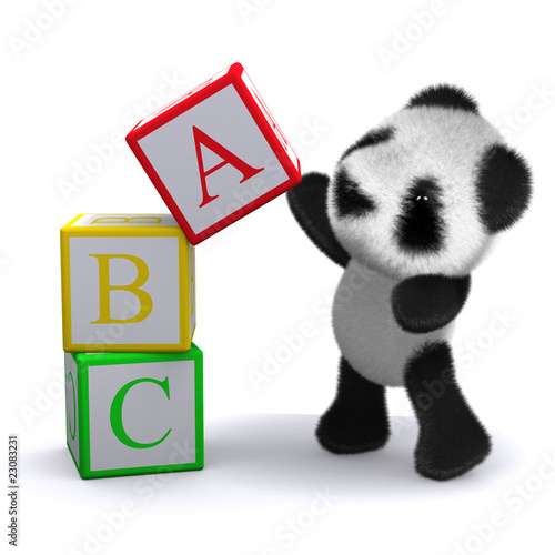 3d Teddy plays with the alphabet